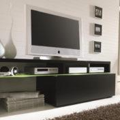 Črno stojalo za TV z zeleno polico
